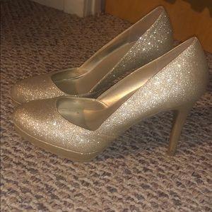Gold glittery high heels